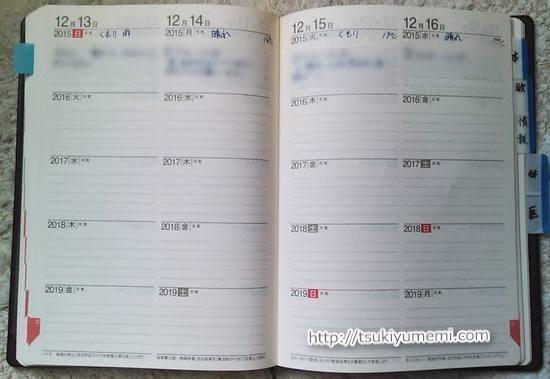 5年日誌日々のページ
